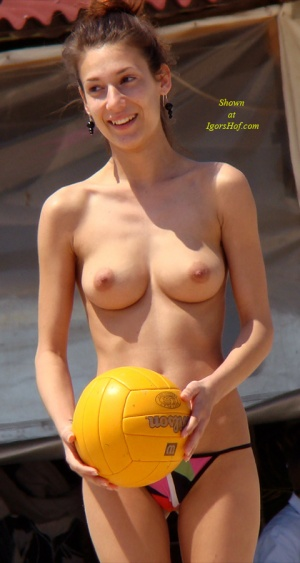 topless volley ball players